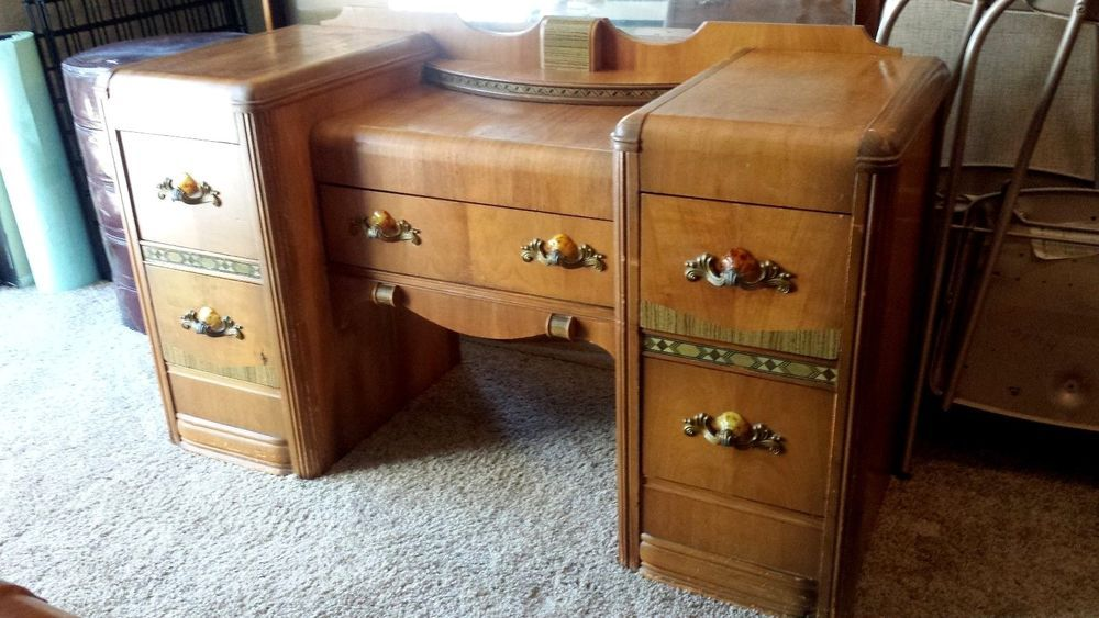 Vintage 1940u0027s Art Deco Waterfall Bedroom Set Vanity Dresser Bench Table  Mirror