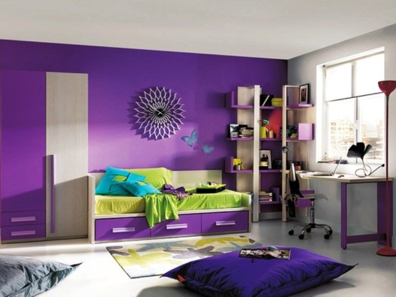 Purple Kids Room Color Scheme Ideas With Green Accent Purple