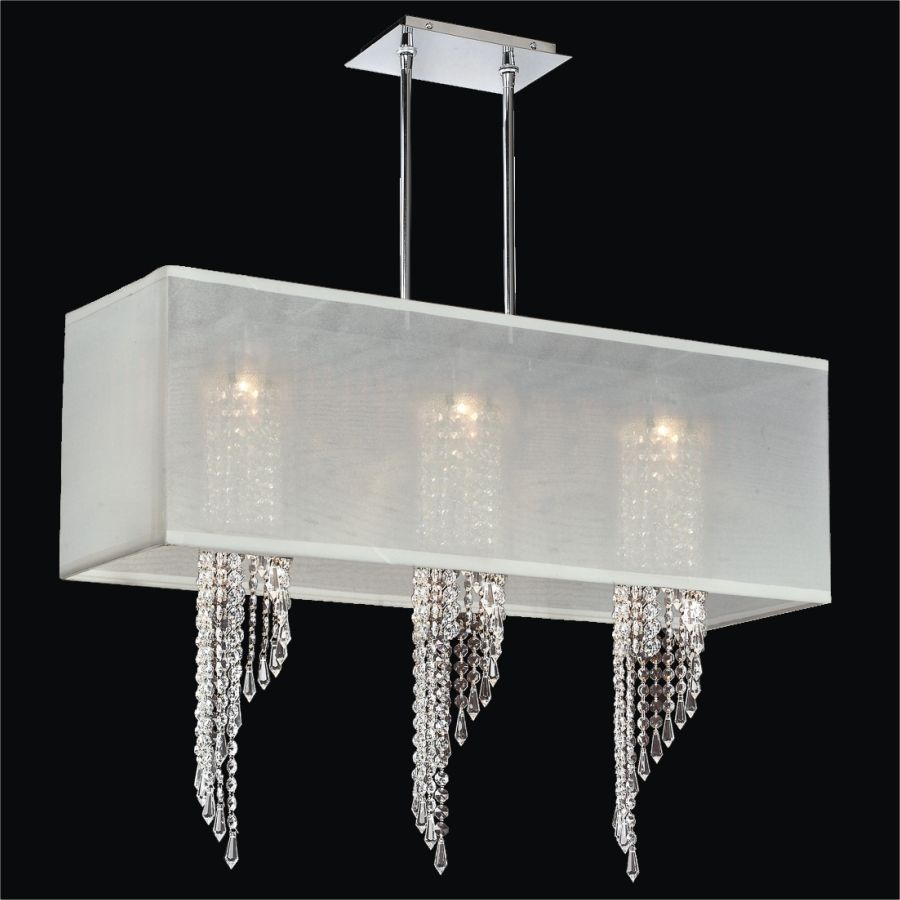Stylish Hanging Modern Chandelier With White Rectangular Shades And 3 Crystal