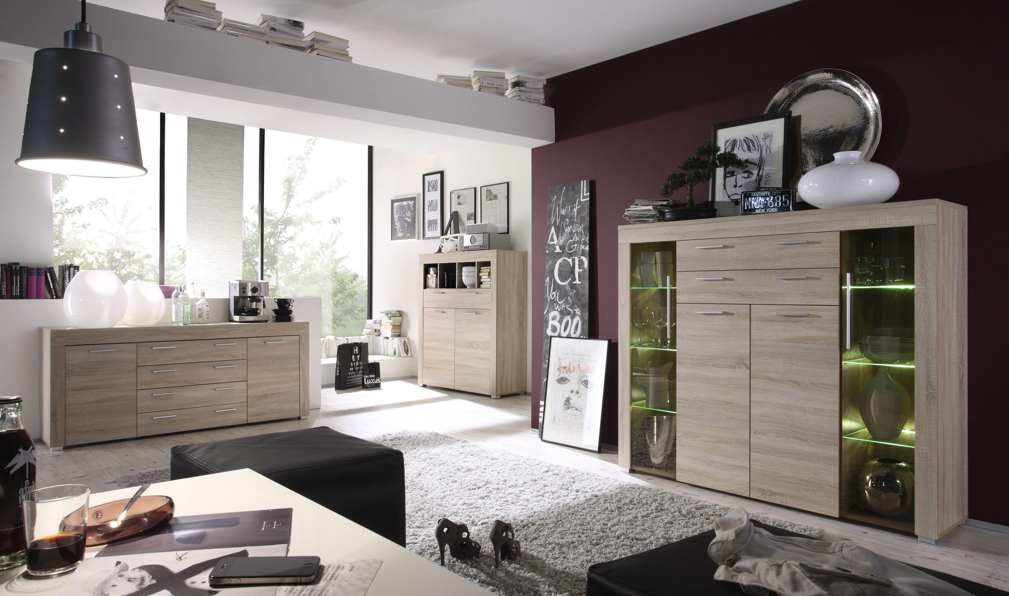 Kombination Aus Highboard Sideboard Und Kommode In Eiche Sgerau Hell Woody 93 00101 Modern Jetzt