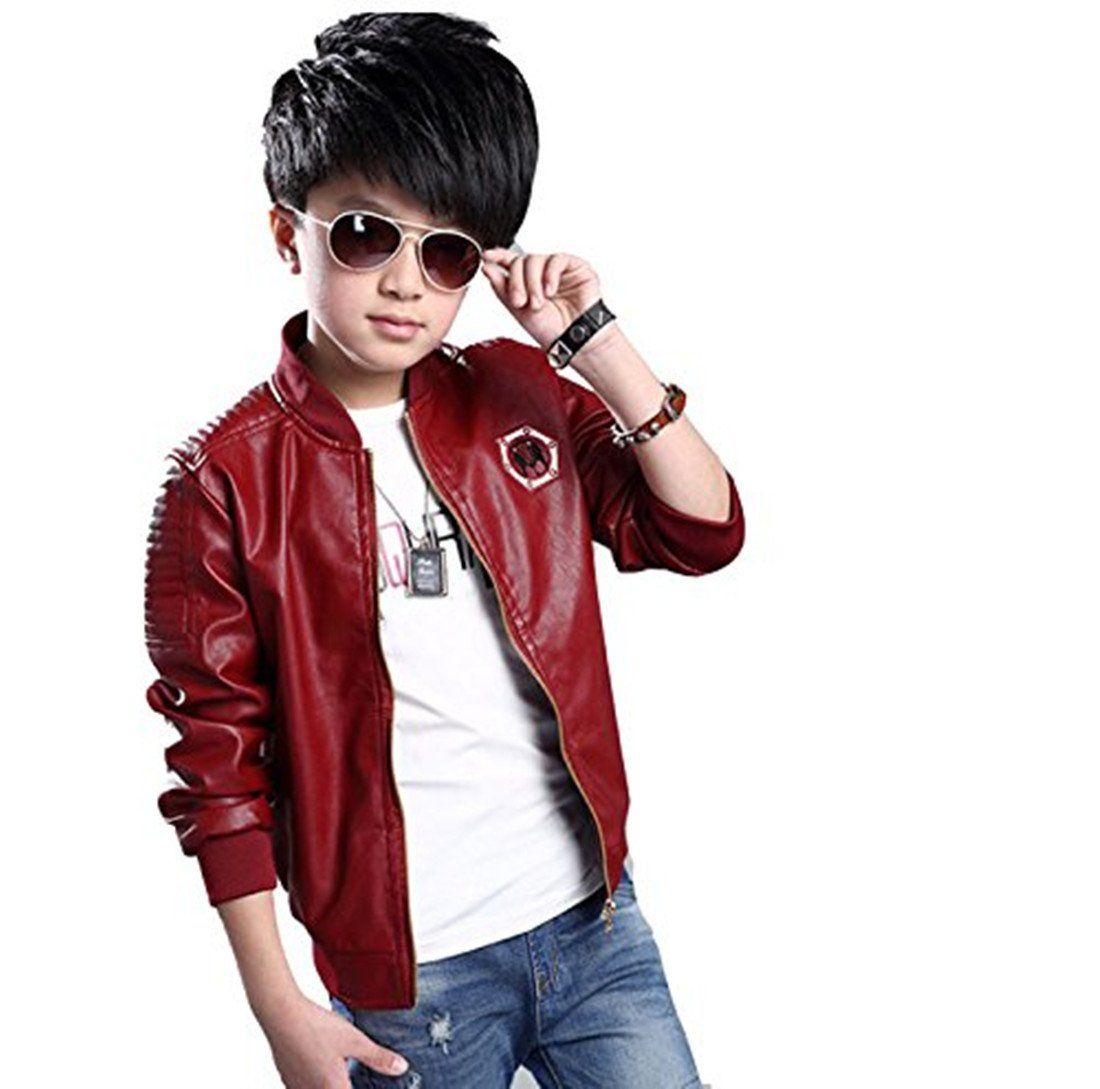 Cool Boys Biker Leather Jacket Fleece-lined Coat Kids Outerwear Casual Warm COAT