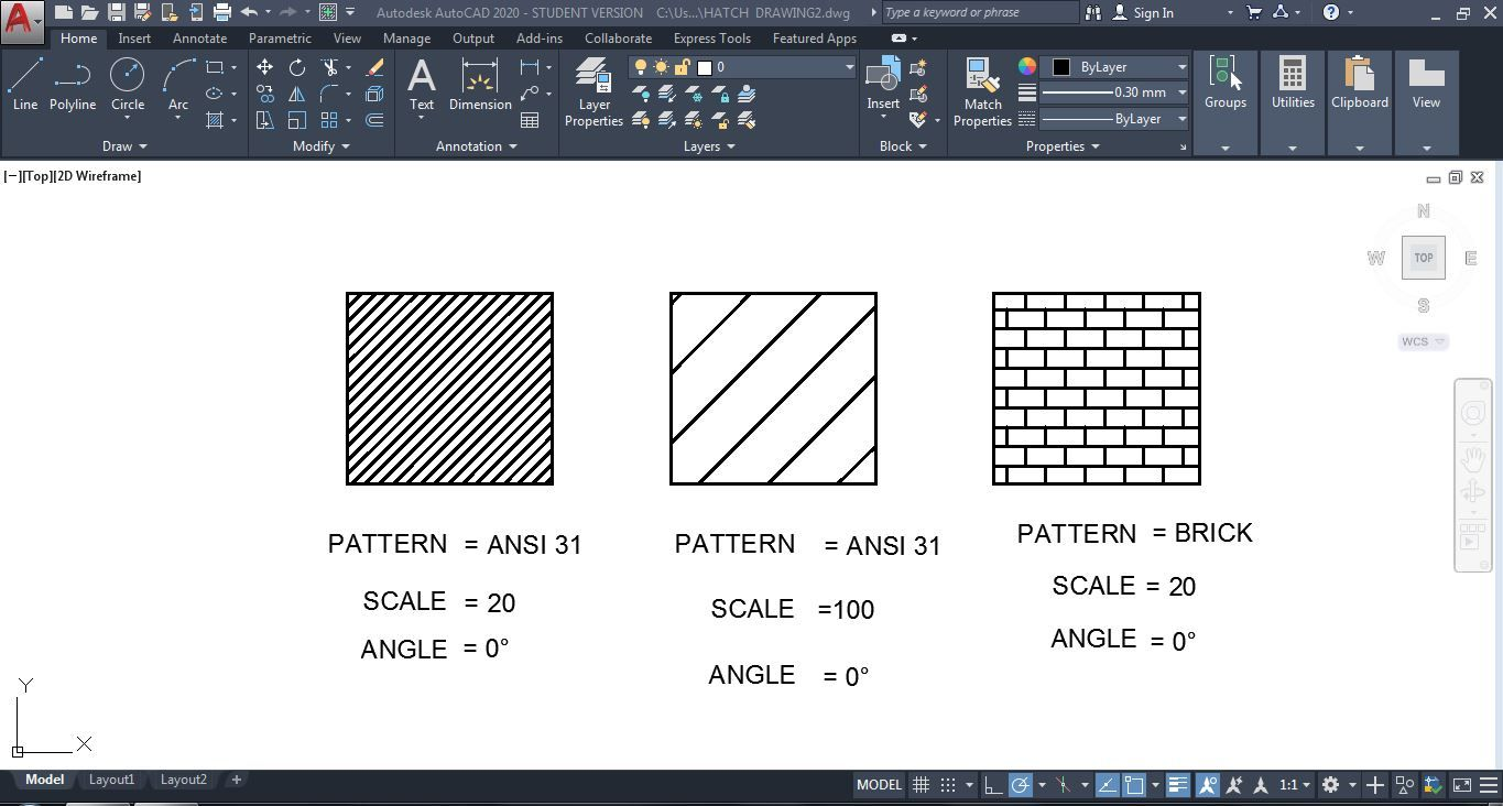 Proper Definition Of Pattern In Autocad 2d 2020 With Default Types