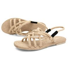 fd5396fde Women Summer Breathable Beach Sandals Rope Elastic Flat Sandals ...