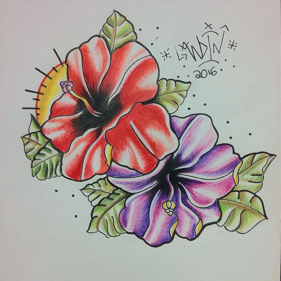 Hibiscus Flower Traditional Tattoo Flash