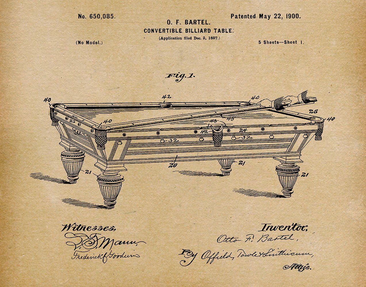 1897 Convertible Billiard Table Patent Print Art Drawing Poster 18X24