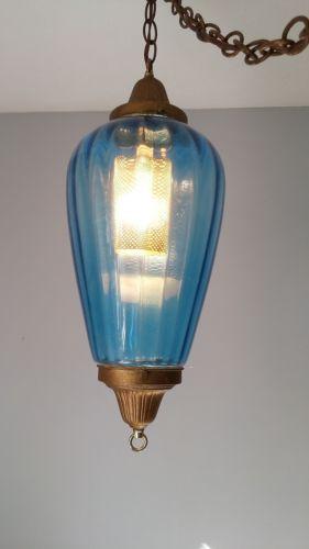 large blue glass teardrop hanging swag lamp light mid century modern