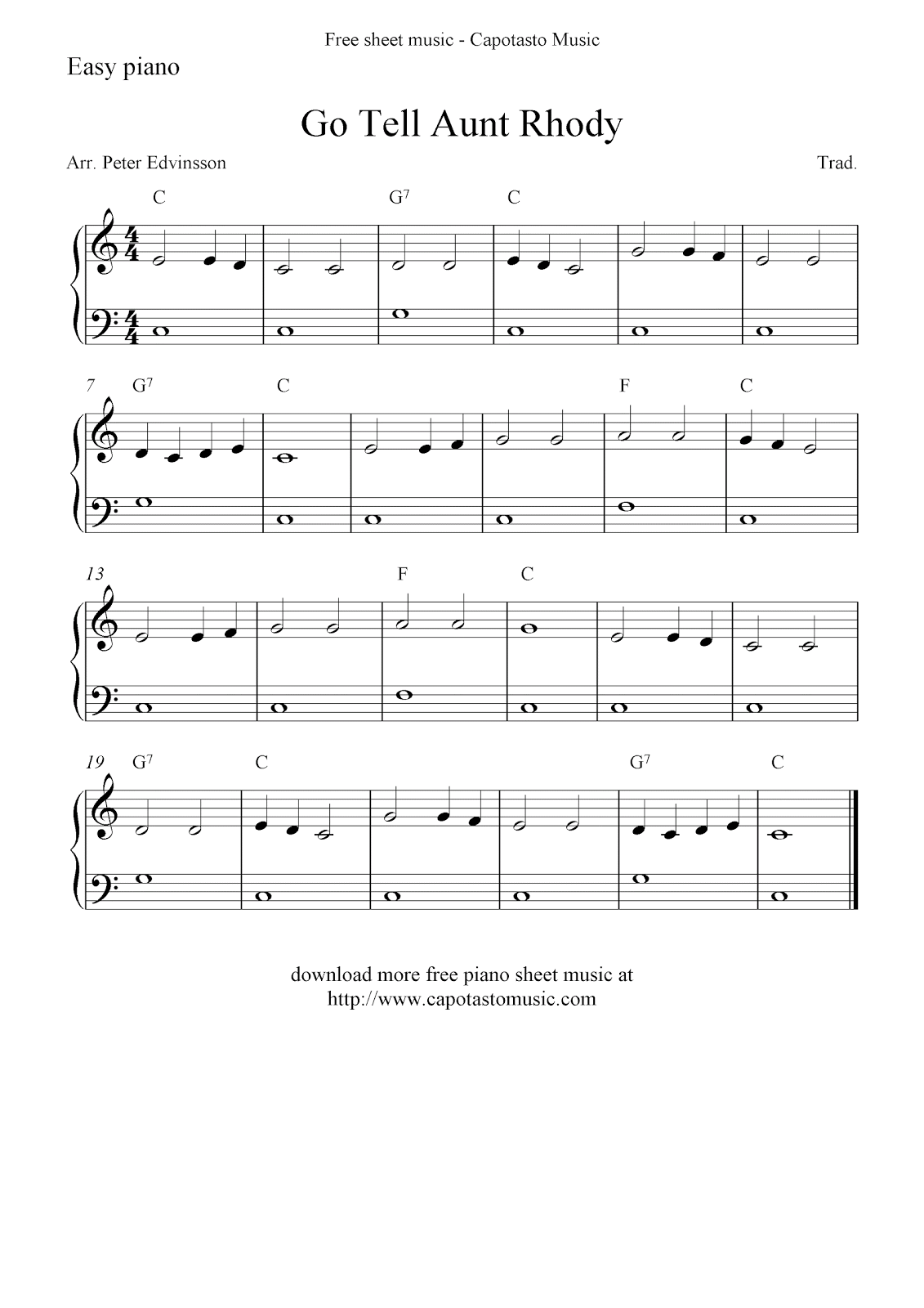 Easy piano solo for beginners with the melody Go Tell Aunt Rhody. Free piano sheet music score at Capotasto Music!