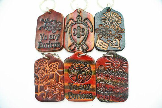 Puerto Rico Taino Indian Symbols Leather Key Chain Boricua Caribbean - 097 | ::Puerto Rico Arts ...
