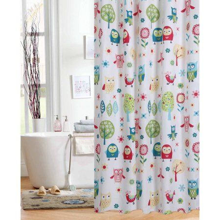 Mainstays Kids Woodland Shower Curtain Multicolor Blue Curtains Boys Bedroom
