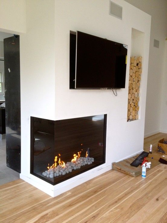 how to frame in a corner gas fireplace
