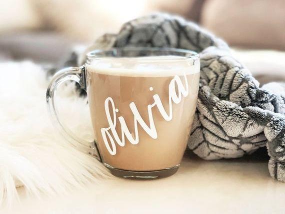 Glass Mug Personalized Glass Coffee Mugs Fall Mug Holiday Mugs Holiday Gifts for Friends