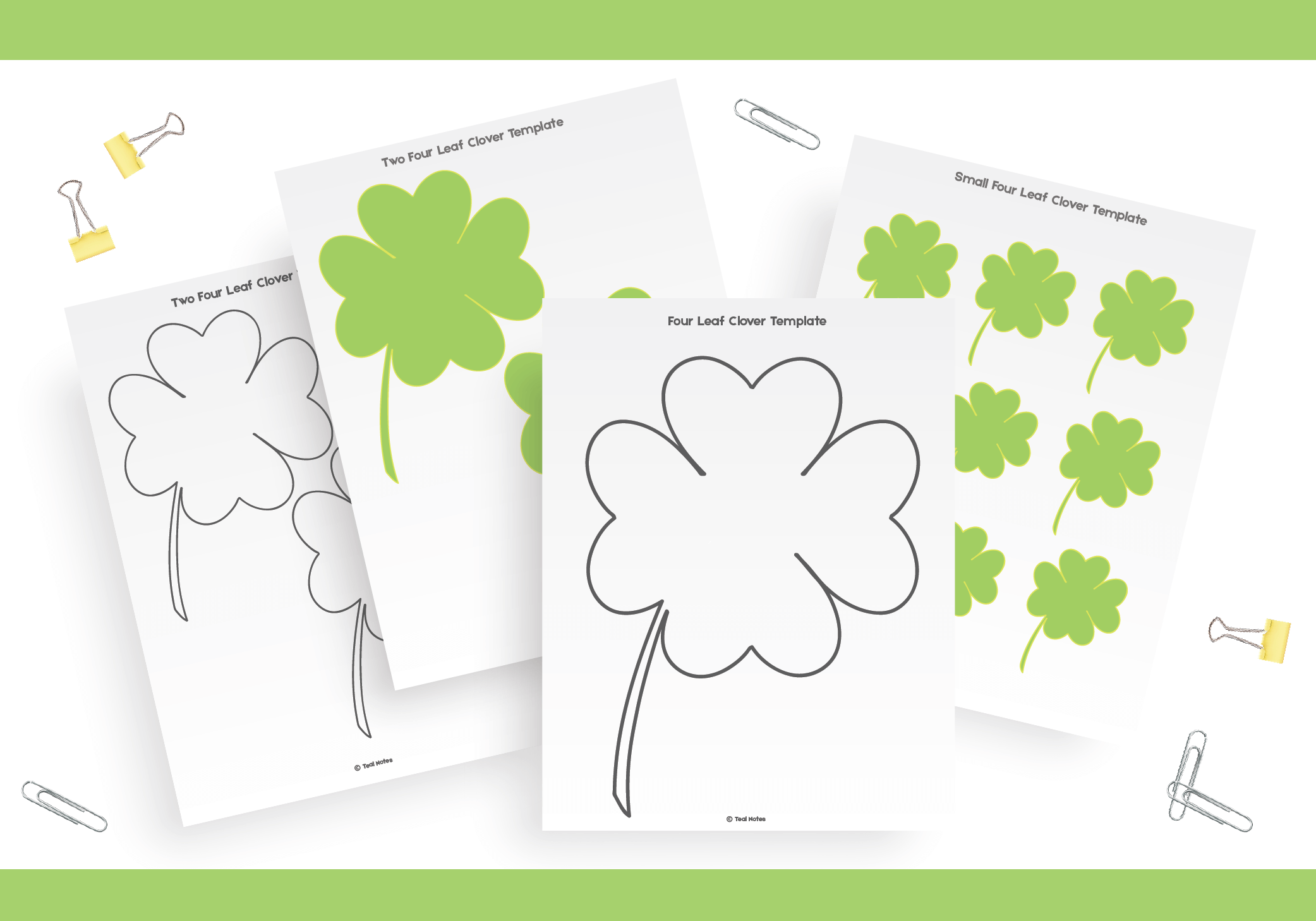 Four Leaf Clover Template Free Shamrock Template