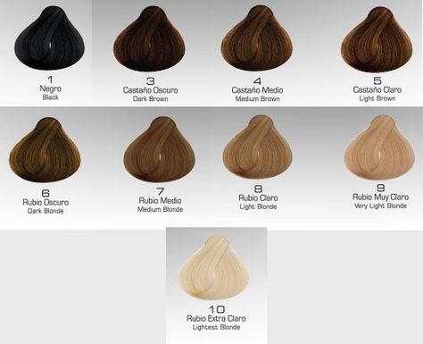 Coloración y cuidado del cabello: Escala intensidad de color (tintes ...