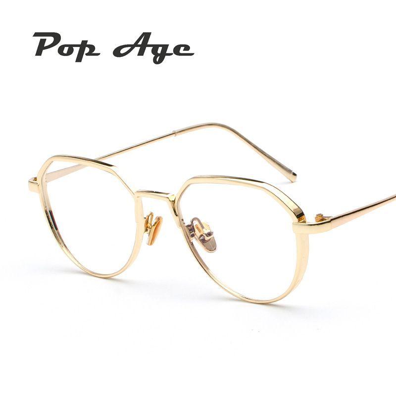 58557db0a44 Pop Age 2018 Fashion Computer Shlield Clear lens glasses Men Women glasses  Optical Glasses Metal Frame