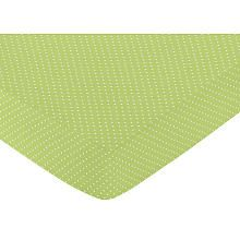 Sweet Jojo Designs Hooty Turquoise and Lime Collection Fitted Crib Sheet - Lime Mini Dot