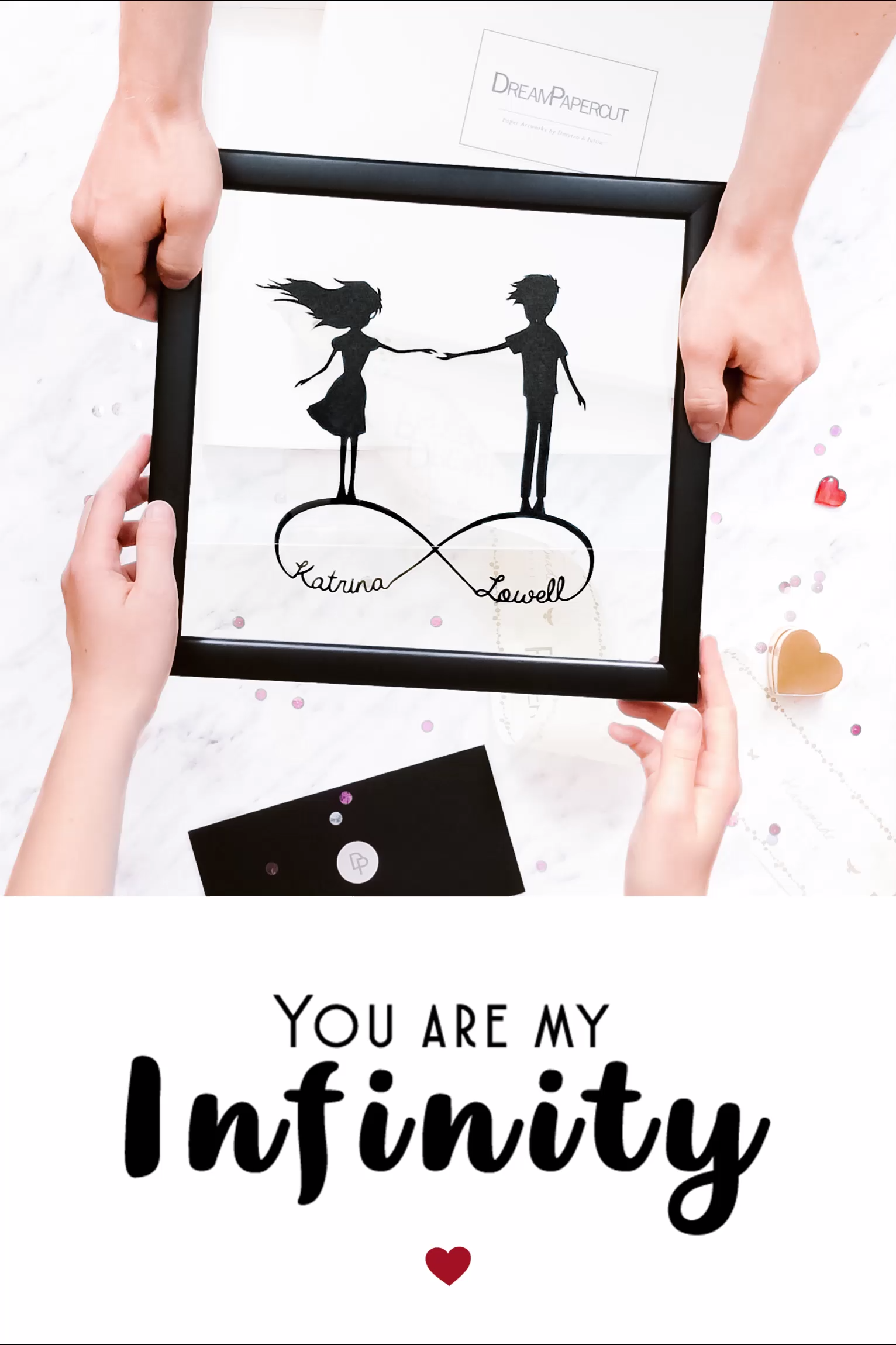 Paper Anniversary Personalized Wall Art Made with Your Fingerprints Couple Illustration First Anniversary Wedding Gift for Her or for Him