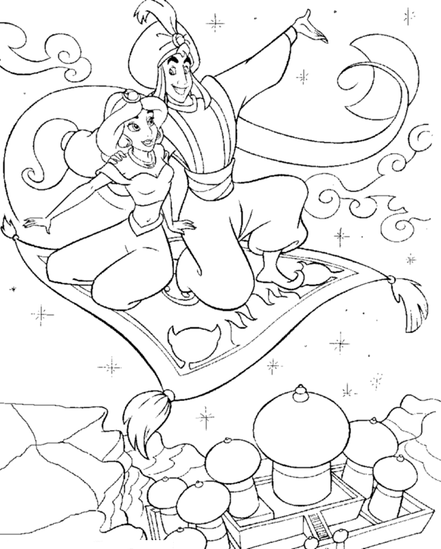 Aladdin and Jasmine. Aladdin - Disney Coloring Page | Party ideas ...