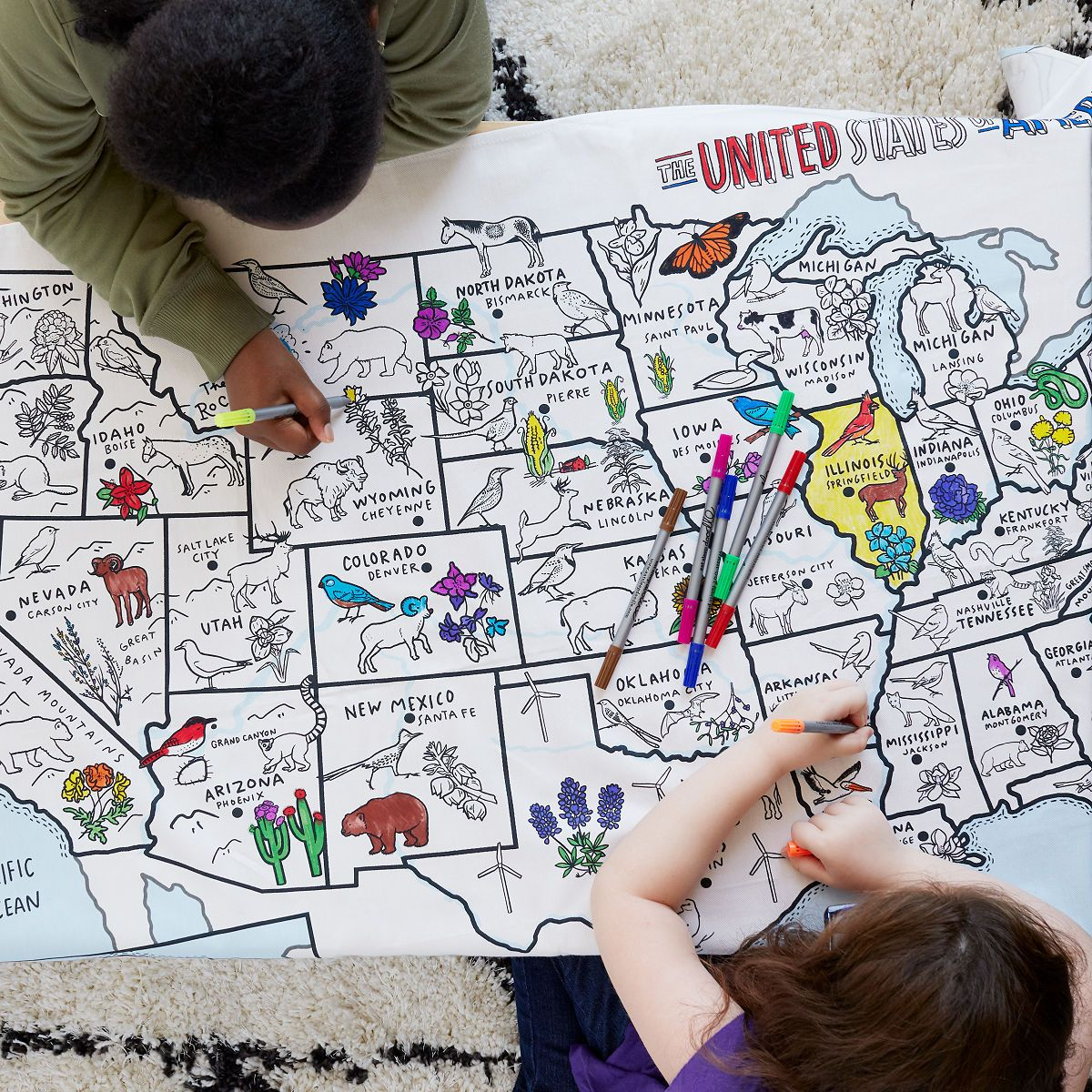 This Washable Tablecloth Is Ready To Color And Teaches Kids About United States Geography And State Birds An Maps For Kids Cool Gifts For Kids Geography Toys