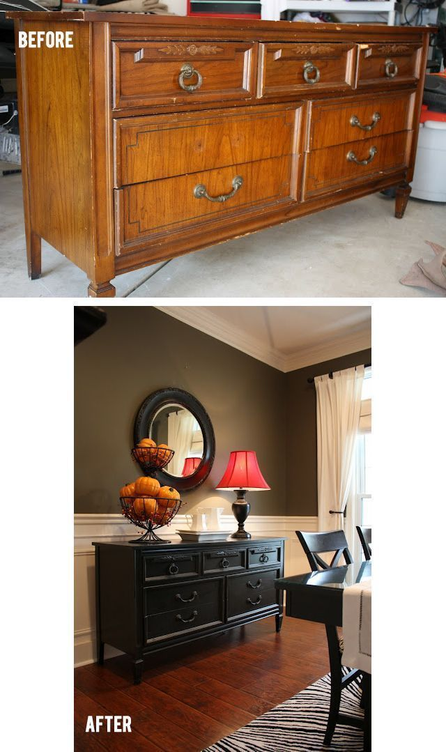 Beautiful antique buffet table gets a facelift and painted black ...