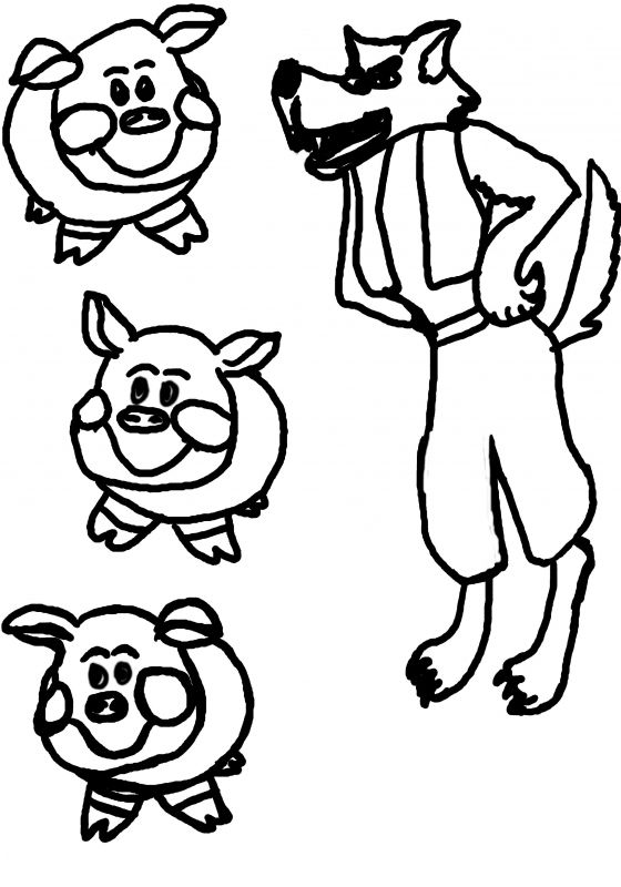 Three Little Pigs Wolf Coloring Pages Coloring Page