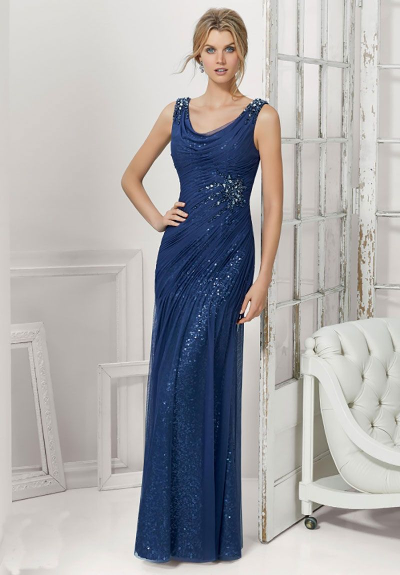 Floor length silver dress with cowl neck and low v back