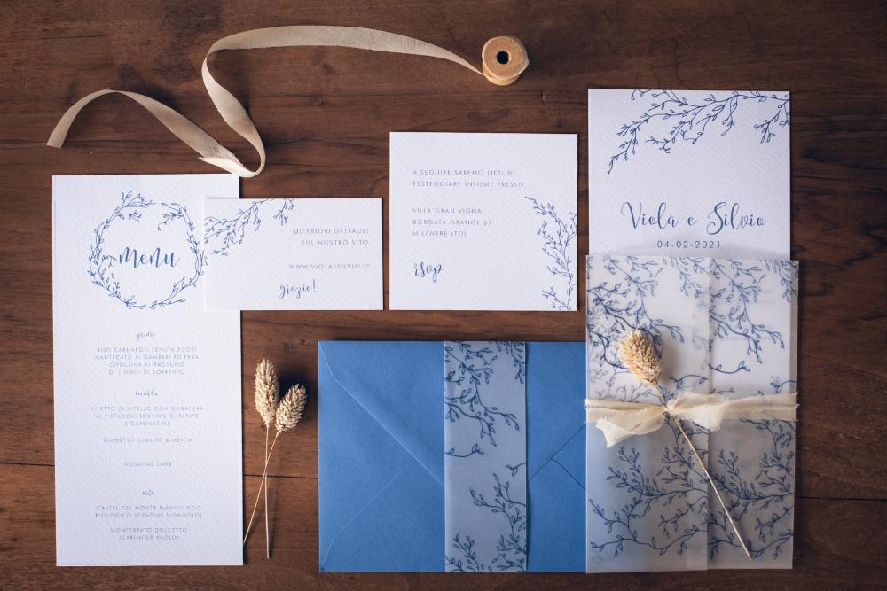 Delicate Light Blue Wedding Invitations Carta Da Lucido Nozze Buste