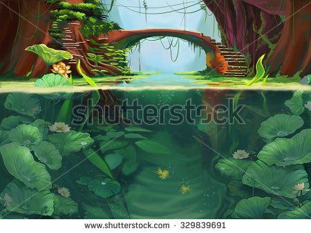 Illustration: The Lotus Pond Between the Valley. If you are lucky to come here, you can walk down the steps, and find your inner peace. Realistic Cartoon Style Scene / Wallpaper / Background Design. - stock photo