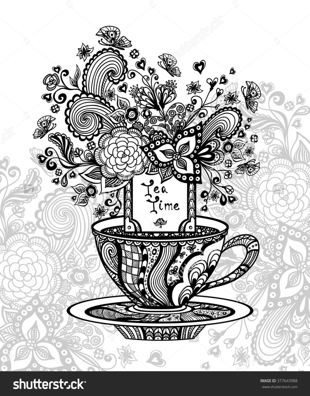 Zen Doodle Cup Of Tea With Flowers Coloring Page 377643988 Shutterstock