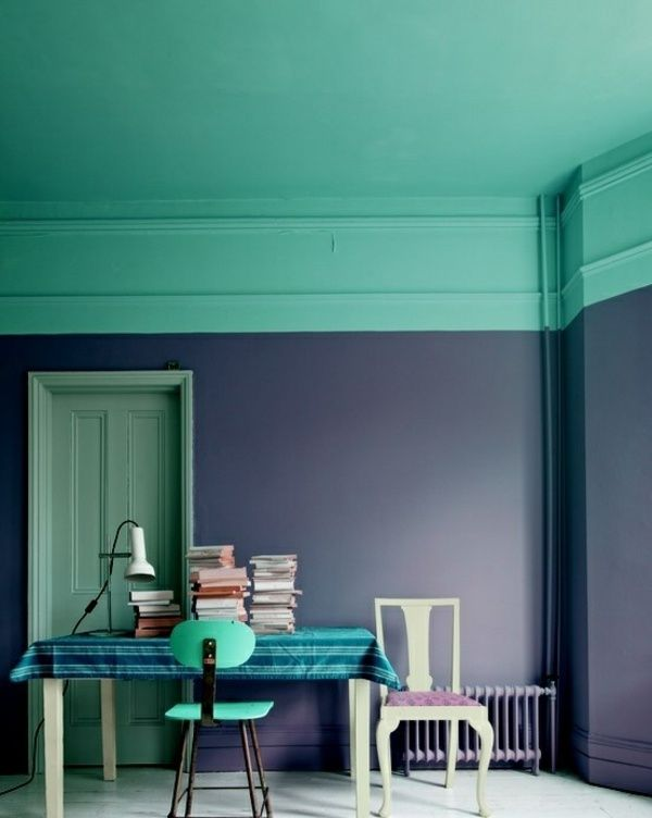 Wand Farbe Blau Grün Esszimmer Gestalten