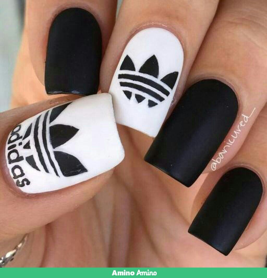 Imagen de adidas, nails, and black