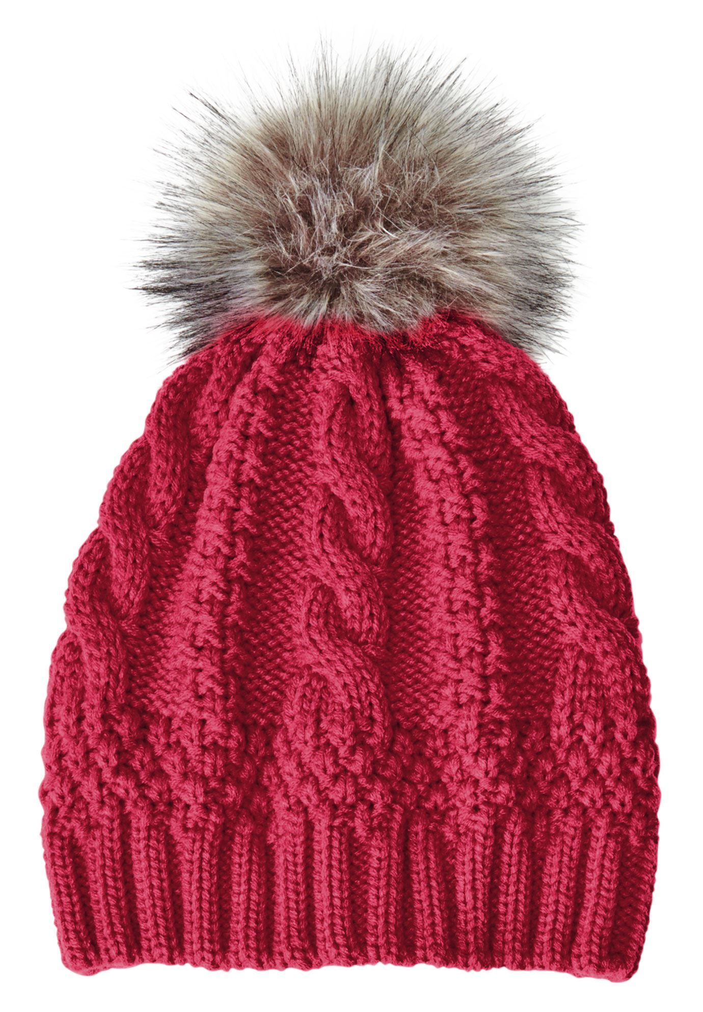 Woman Within Cable knit hat with pom-pom - Wide Width ...