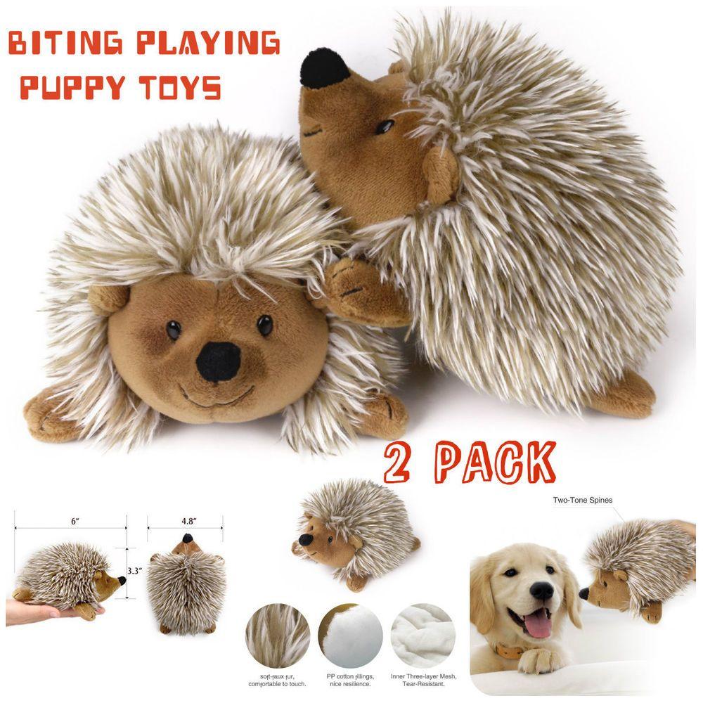 2 Hedgehog Plush Dog Toy No Toxic Soft Faux Fur Stuffed Biting