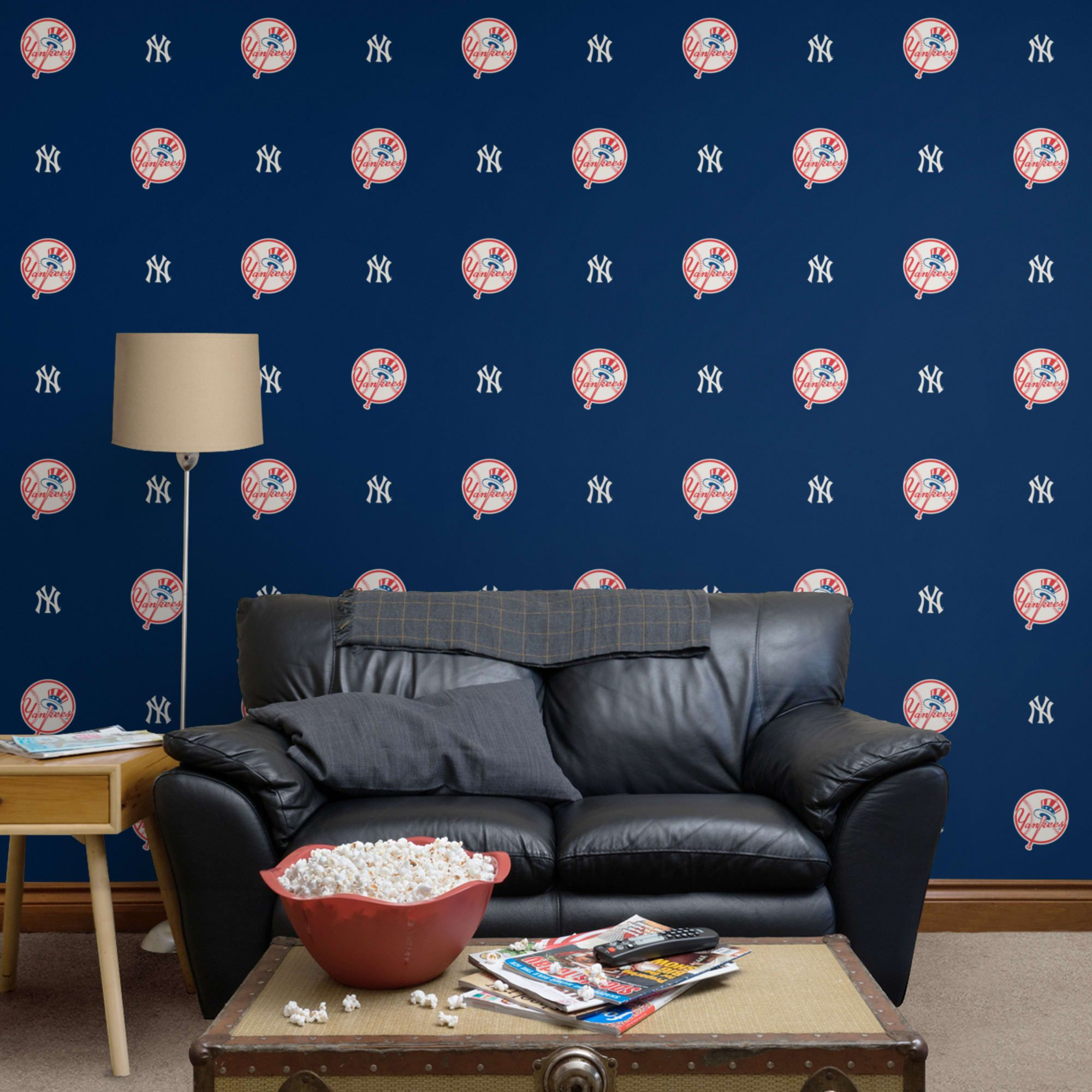 New York Yankees Logo Pattern Blue Officially Licensed Removable Wallpaper New York Yankees Home Decor Wallpaper