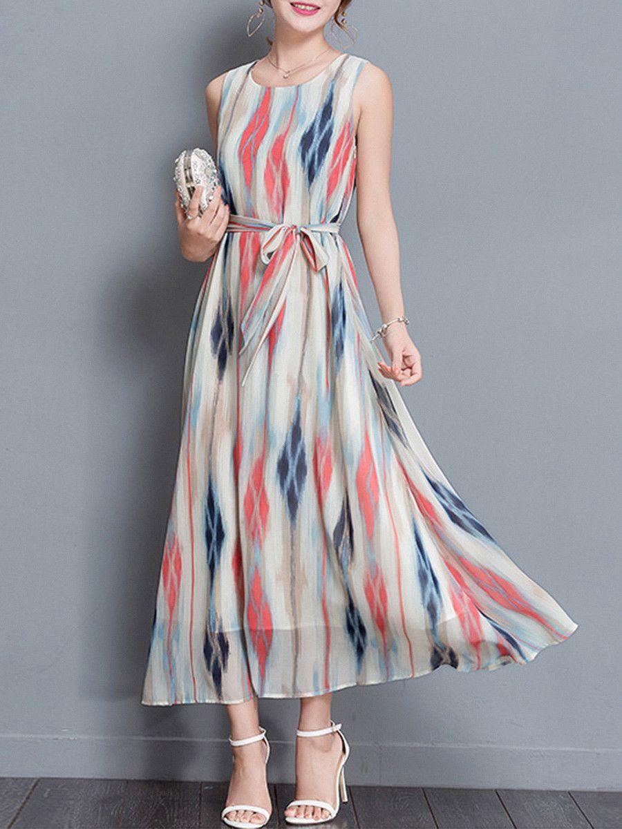Round Neck Belt Printed Maxi Dress Maxidress Summermaxidresses