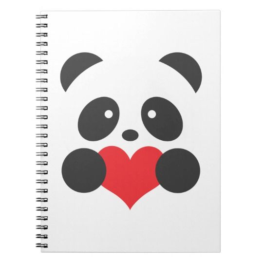 Panda heart notebook | Zazzle.co.uk