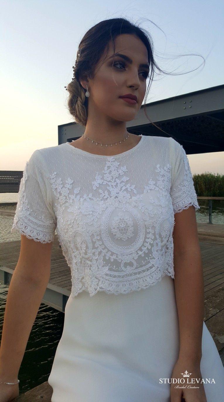 adad59b838e9 Stunning crop top boho modest wedding gown from Studio Levana ...
