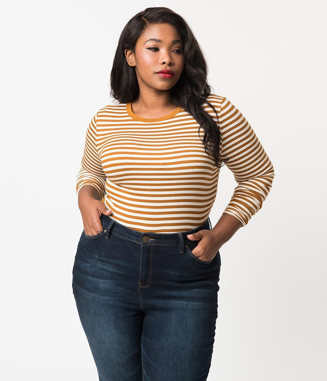 af3ca67be5d350 Plus Size Retro Style Mustard Yellow & Off White Stripe Stretch Knit C – Unique  Vintage