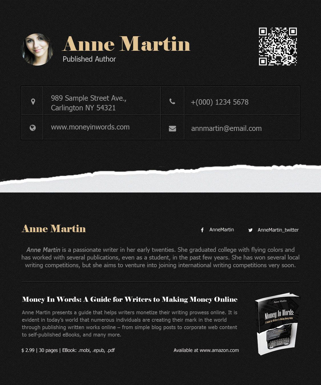 Money In Words Book Author Business Card #BusinessCard #Author ...