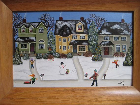 CHRISTMAS HOUSES framed Acrylic original painting by JanOlsenArt, $115.00