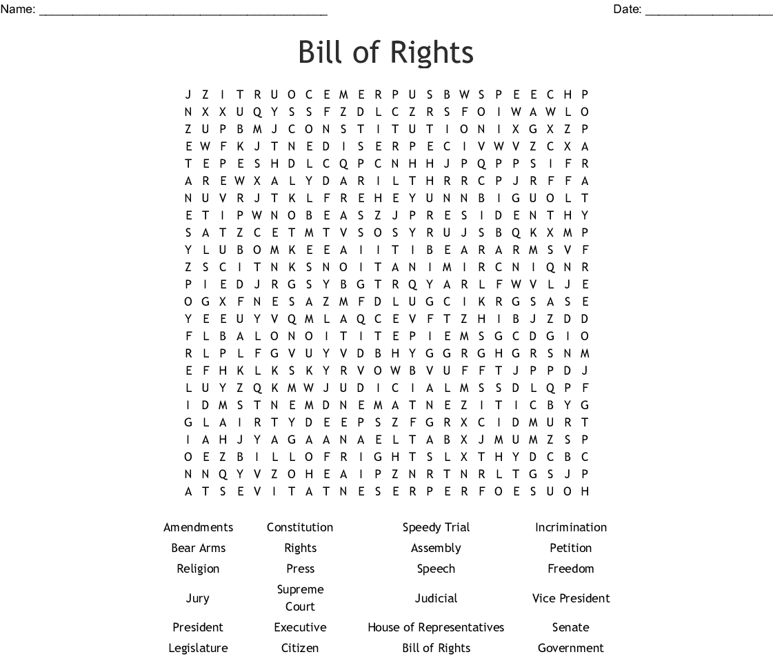 A Printable Bill Of Rights Word Search Containing 24 Words