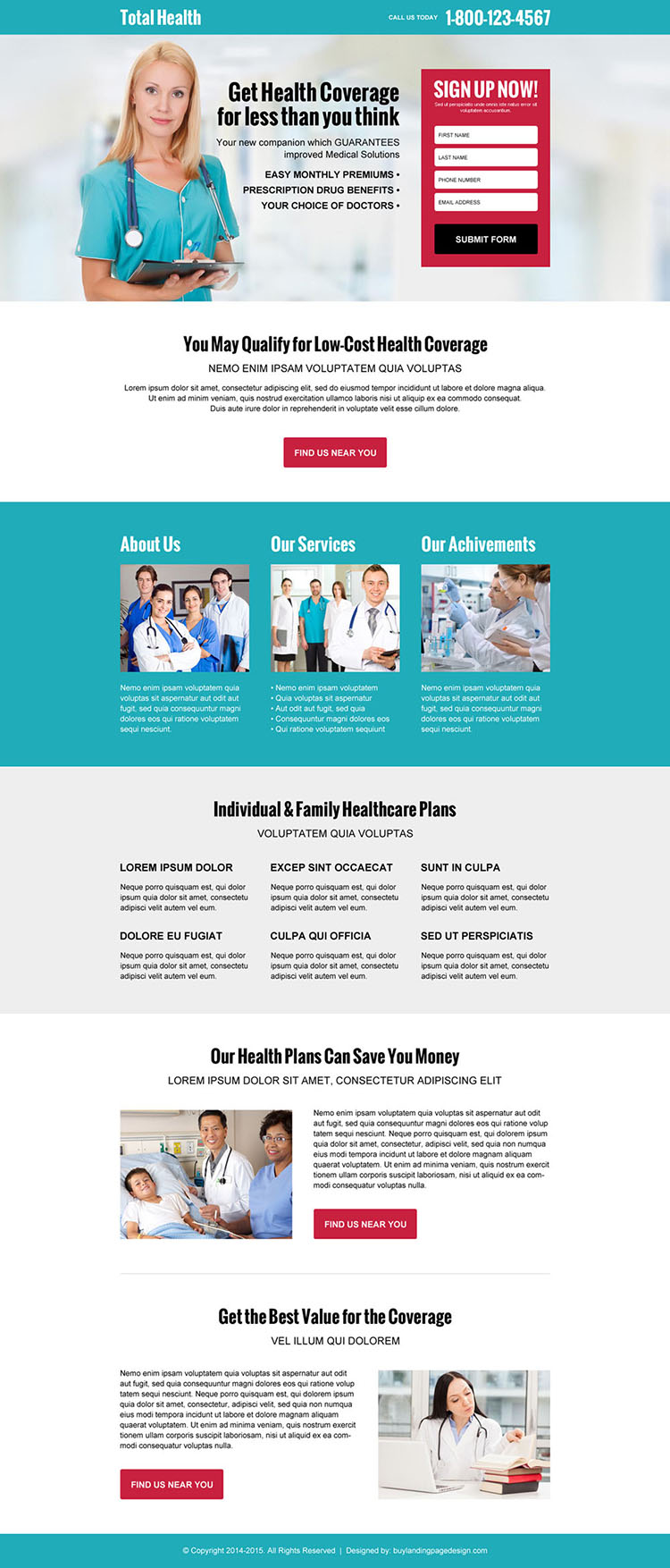 medical-health-service-quote-res-lp-003 | Health Insurance Landing Page Design preview.