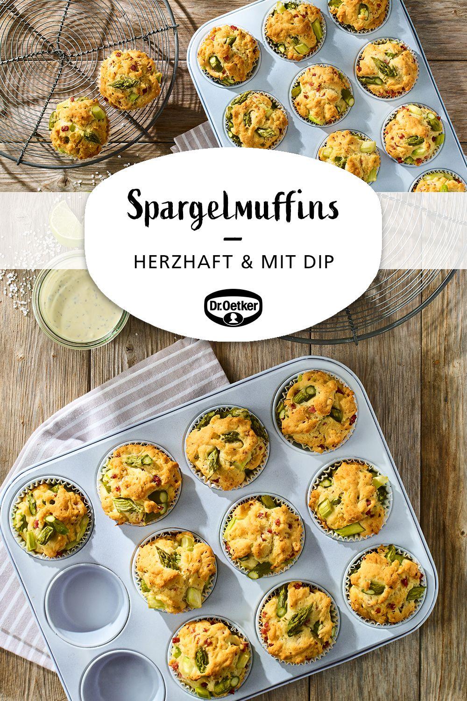 Spargelmuffins mit Dip