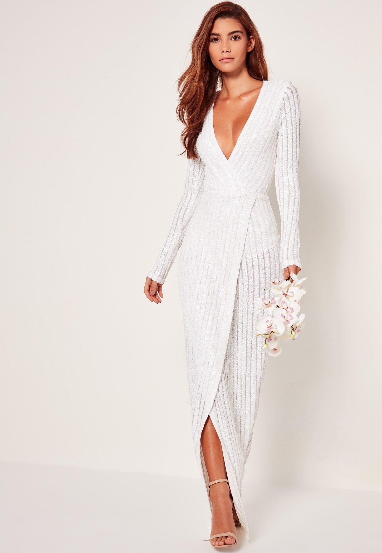 Bridal Sequin Stripe Wrap Maxi Dress White | Dresses | Pinterest ...