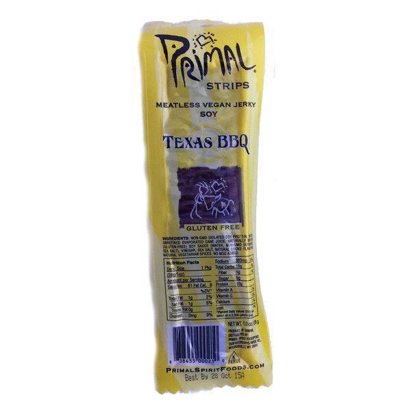 Primal Strips Texas Bbq Vegan Jerky 28g Vegan Jerky Vegan Jerky