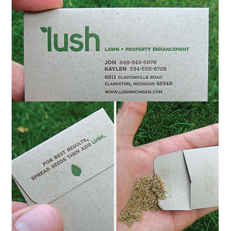 Lush business card seed packet Struck