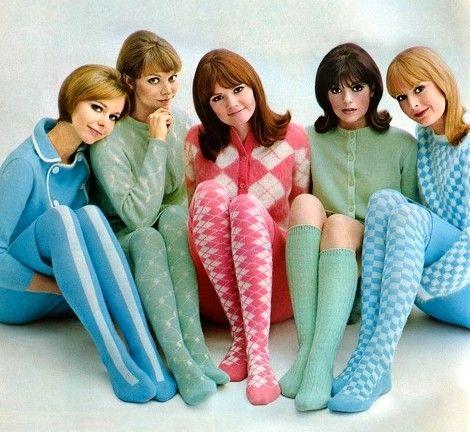 Blue /& White Retro Mod Lady Print Pop Socks Knee high tights