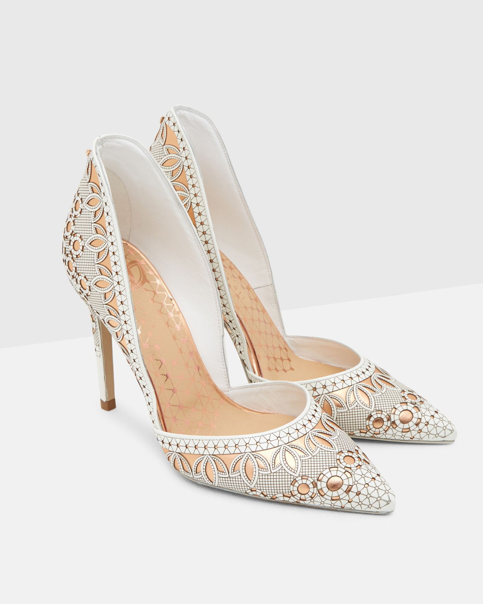ff9159efbb0 Lazer cut leather heeled courts - White