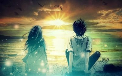 Animated Romantic Cute Couple Watching Sunset Together Wallpaper | HD Love Wallpapers | Love ...