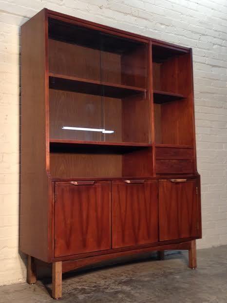 Mid Century Danish Modern China Cabinet Hutch Bookcase Buffet