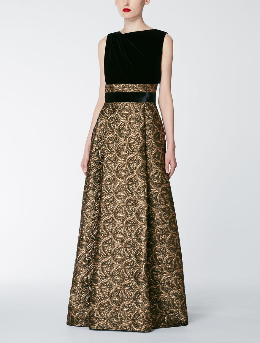 06e4a378e8d Theia Long-Sleeve Jacquard Skirt Gown